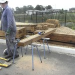 Measuring before cutting the sleepers