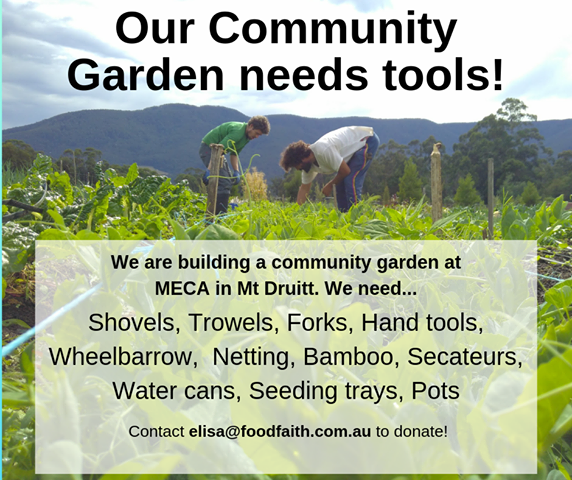 Elisa, looking for donations for community garden in Mt Druitt for refugees